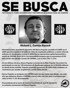 Richard Carrion. Se busca por corrupto, violento, y ladron.
